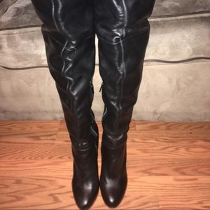 """Colin Stuart Shoes - Black leather 4"""" heeled thigh high boots"""